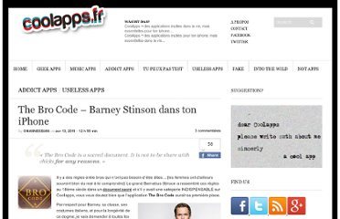 http://www.coolapps.fr/the-bro-code-barney-stinson-dans-ton-iphone/