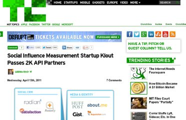 http://techcrunch.com/2011/04/13/social-influence-measurement-startup-klout-passes-2k-api-partners/