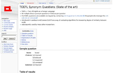 http://aclweb.org/aclwiki/index.php?title=TOEFL_Synonym_Questions_%28State_of_the_art%29