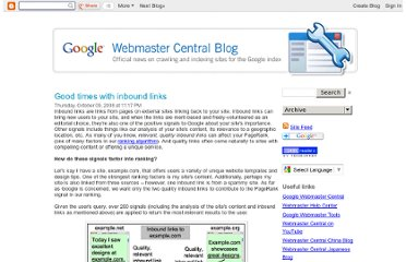 http://googlewebmastercentral.blogspot.com/2008/10/good-times-with-inbound-links.html