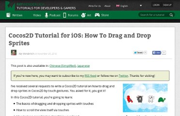 http://www.raywenderlich.com/2343/how-to-drag-and-drop-sprites-with-cocos2d