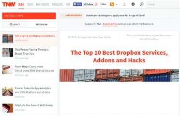 http://thenextweb.com/apps/2011/04/15/the-top-10-best-dropbox-services-addons-and-hacks/