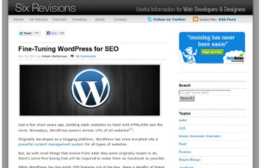 http://sixrevisions.com/wordpress/fine-tuning-wordpress-seo/