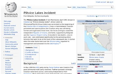 http://en.wikipedia.org/wiki/Plitvice_Lakes_incident