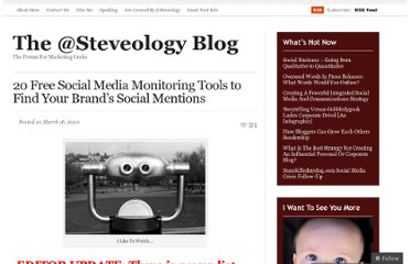 http://stevefarnsworth.wordpress.com/2010/03/16/20-free-social-media-monitoring-tools-to-find-your-brand%e2%80%99s-social-mentions/