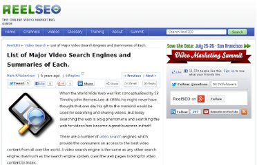 http://www.reelseo.com/list-major-video-search-engines-summaries/