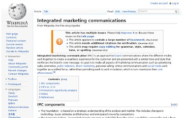 http://en.wikipedia.org/wiki/Integrated_marketing_communications