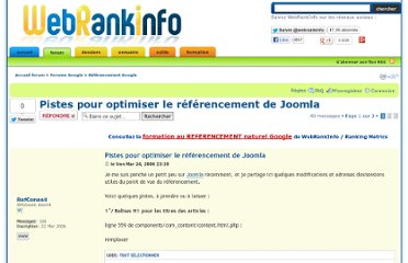 http://forum.webrankinfo.com/pistes-pour-optimiser-referencement-joomla-t48492.html