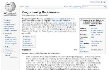 http://en.wikipedia.org/wiki/Programming_the_Universe