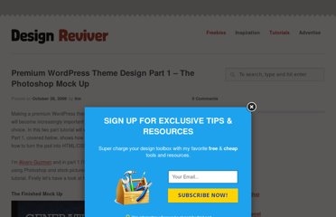 http://designreviver.com/tutorials/premium-wordpress-theme-design-part-1-the-photoshop-mock-up/