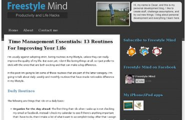 http://freestylemind.com/routines-for-improving-your-life