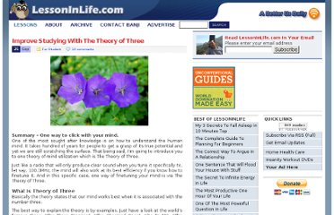 http://lessoninlife.com/2008/09/21/improve-studying-with-the-theory-of-three/