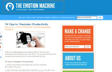http://www.theemotionmachine.com/50-tips-to-maximize-productivity