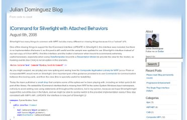 http://blogs.southworks.net/jdominguez/2008/08/icommand-for-silverlight-with-attached-behaviors/