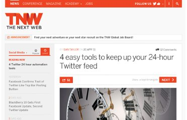 http://thenextweb.com/socialmedia/2011/04/20/4-easy-tools-to-keep-up-your-24-hour-twitter-feed/