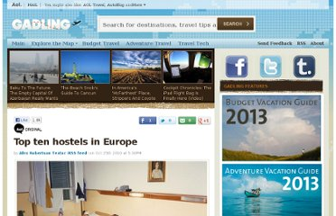 http://www.gadling.com/2010/10/25/top-ten-hostels-in-europe/