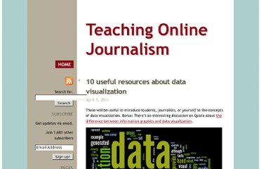 http://mindymcadams.com/tojou/2011/10-useful-resources-about-data-visualization/