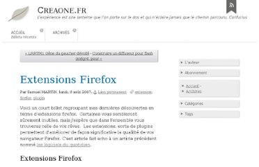 http://blog.creaone.fr/post/2007/08/06/Extensions-Firefox