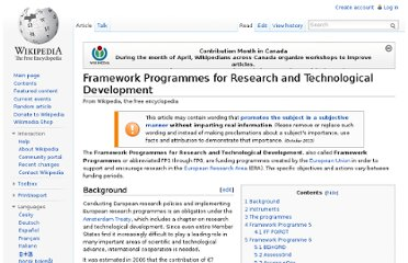 http://en.wikipedia.org/wiki/Framework_Programmes_for_Research_and_Technological_Development