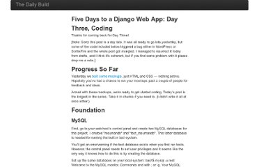 http://blog.bstpierre.org/five-days-to-a-django-web-app-day-three-coding