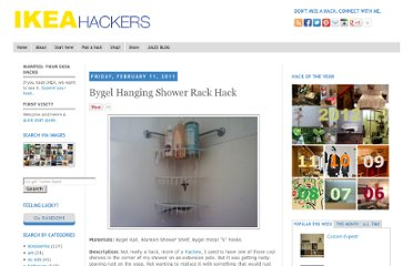 http://www.ikeahackers.net/2011/02/bygel-hanging-shower-rack-hack.html
