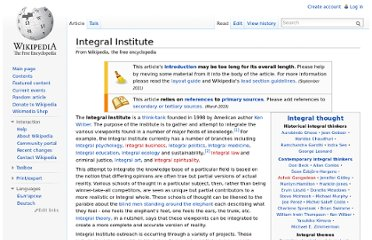 http://en.wikipedia.org/wiki/Integral_Institute