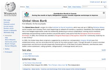 http://en.wikipedia.org/wiki/Global_Ideas_Bank