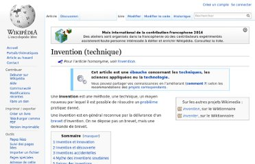 http://fr.wikipedia.org/wiki/Invention_%28technique%29