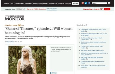 http://www.csmonitor.com/Books/chapter-and-verse/2011/0422/Game-of-Thrones-episode-2-Will-women-be-tuning-in
