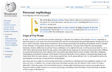 http://en.wikipedia.org/wiki/Personal_mythology