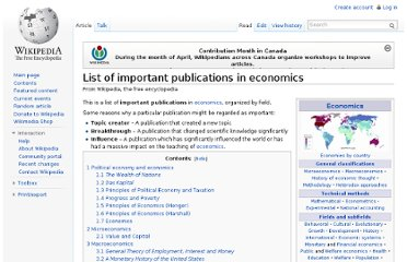 http://en.wikipedia.org/wiki/List_of_important_publications_in_economics