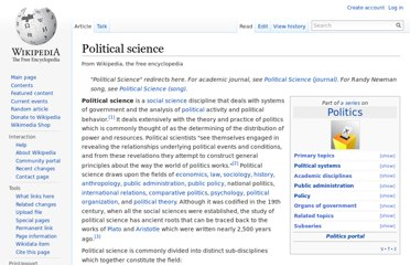 http://en.wikipedia.org/wiki/Political_science