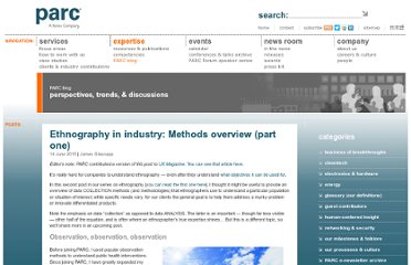 http://blogs.parc.com/blog/2010/06/ethnography-in-industry-methods-overview-part-one/