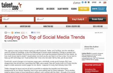 http://www.talentzoo.com/news.php/Staying-On-Top-of-Social-Media-Trends/?articleID=10007