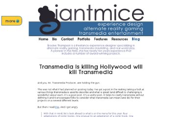 http://www.giantmice.com/archives/2011/04/transmedia-is-killing-hollywood-will-kill-transmedia/