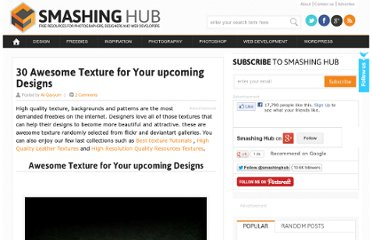http://smashinghub.com/30-awesome-texture-for-your-upcoming-designs.htm