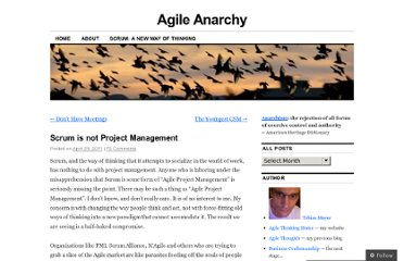 http://agileanarchy.wordpress.com/2011/04/25/scrum-is-not-project-management/