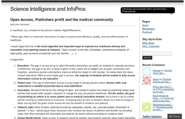 http://scienceintelligence.wordpress.com/2011/04/26/does-open-access-matter-to-the-medical-community/