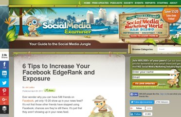 http://www.socialmediaexaminer.com/6-tips-to-increase-your-facebook-edgerank-and-exposure/