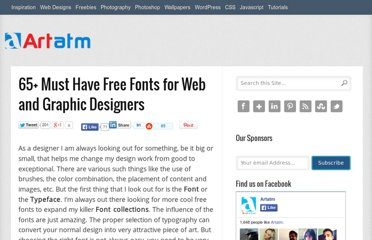 http://artatm.com/2011/04/65-must-have-free-fonts-for-web-and-graphic-designers/