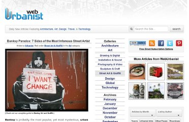 http://weburbanist.com/2007/07/19/banksy-paradox-unofficial-guide-to-the-worlds-most-infamous-urban-guerilla-street-artist/
