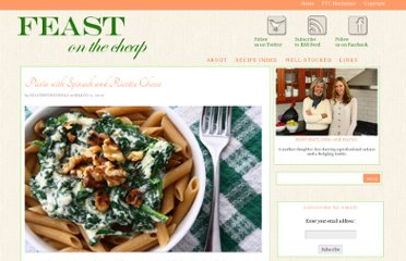 http://feastonthecheap.net/pasta-with-spinach-and-ricotta-cheese/