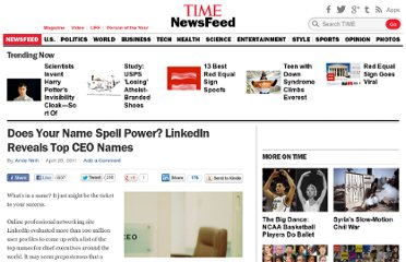 http://newsfeed.time.com/2011/04/28/does-your-name-spell-power-linkedin-reveals-top-ceo-names/