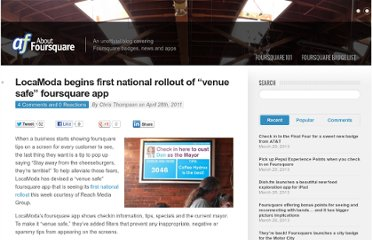 http://aboutfoursquare.com/locamoda-begins-first-national-rollout-of-venue-safe-foursquare-app/