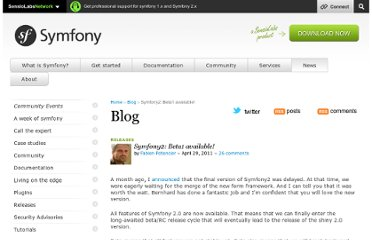 http://symfony.com/blog/symfony2-beta1-available