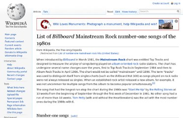 http://en.wikipedia.org/wiki/List_of_number-one_mainstream_rock_hits_%28United_States%29