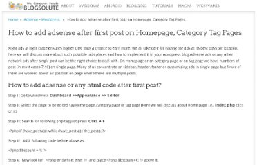 http://www.blogsolute.com/add-adsense-after-first-post-homepage-category-tag-pages/4952/