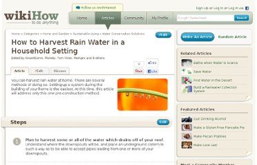 http://www.wikihow.com/Harvest-Rain-Water-in-a-Household-Setting