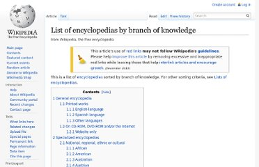 http://en.wikipedia.org/wiki/List_of_encyclopedias_by_branch_of_knowledge