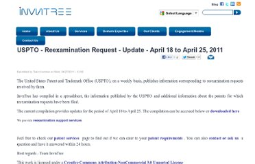 http://www.invntree.com/blogs/uspto-reexamination-request-update-april-18-april-25-2011